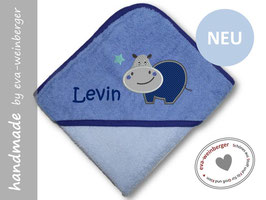 Kapuzenhandtuch • Babybadetuch kleines Nilpferd dunkelblau/hellblau Bauch dunkelblau Maul/Kopf hellgrau Kristin ITC dunkellbau