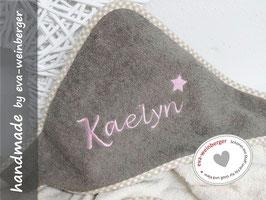 Kapuzenhandtuch Name Stern Herz Anker nach Wunsch Musterfoto: beige/braun rosa Nevisio Dak Stern