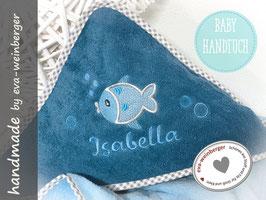 Kapuzenhandtuch • Name •Fisch Geschenk Baby Taufe Geburt Musterfoto: cadet Stoff hellblau gepunktet Rand Fisch silbergrau Name Kapellka türkisblau