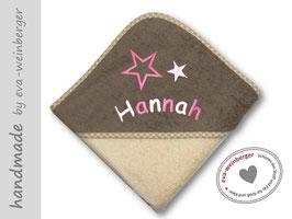 Babybadetuch • mit Name bestickt 2 Sterne Foto: braun/beige bestickt rosa/weiß Comic Sans gebogen