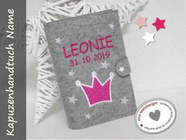 U-Heft-Hülle • Krone • Filz Produktfoto hellgrau/weiß/pink Stoff pink Pünktchen Verschluss weiß Sternchen