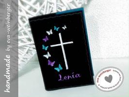Gotteslobhülle • Gebetbuchhülle mit Namen Schmetterlinge und Kreuz Foto: anthrazit/petrol Stickerei weiß/flieder/mint