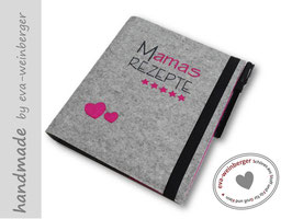 Rezeptordner • Sammlung • Mamas Rezepte • hellgrau-pink • Herzen unten links