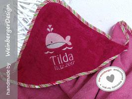 Kapuzenhandtuch • Kleiner Wal • Musterfoto: Handtuch Pink/Rand bunt gestreift, Name Boffo Dak zweifarbig rosa/weiß