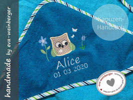 Handtuch mit Kapuze • Eulenwiese • petrol/Flügel maigrün türkisblau Name weiß