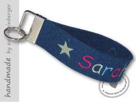 Schlüsselanhänger • Name • Stern • dunkelblau • bunt