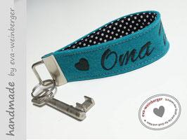Schlüsselanhänger • Oma  • Name  •  Stoff innen