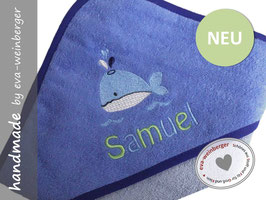 Kapuzenhandtuch • Kleiner Wal • Name Geschenk Baby Taufe Geburt Musterfoto: hellblau/dunkelblau Wal hellblau/weiß Name maigrün/hellblau Boffo Dak
