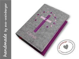 Gotteslobhülle • Gebetbuch • Einband • Kreuz Punktereigen hellgrau/violett violett/rosa