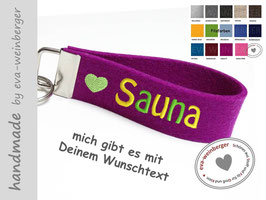 Schlüsselanhänger • Sauna • Herz • pink-violett • bunt