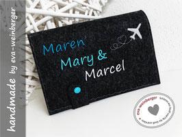 Reisepassmappe • Dokumentenmappe • Namen  • Geschenk zur Hochzeit