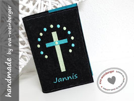 Gotteslobhülle • Gebetbuch • Einband • Kreuz Punktereigen anthra/mai mint/t-blau
