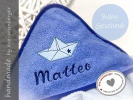 Babybadetuch • Papierboot • 80x80 cm oder 100x100 cm hellblau/dunkelblau Kapellka dunkelblau