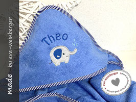 Kapuzenhandtuch • Elefant • blau/blau Rand gestreift Elefant hellgrau/dunkelblau Name Boffo D. uni dunkelblau