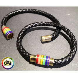 Lederarmband mit Rainbow Magnetverschluss II