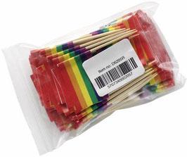 100 Regenbogen Zahnstocher-Flaggen