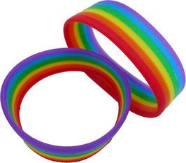 Regenbogen Silikon Armband breit