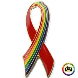 Aids-Schleifen Regenbogen/Rot Anstecker 4 cm