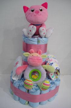 Tarta de pañales Gatito rosa