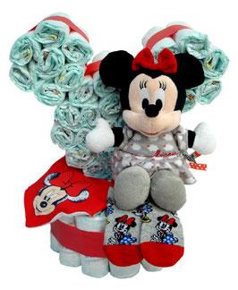 Tarta de pañales silueta Minnie