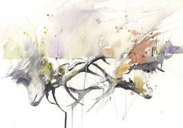Hirsche, Aquarell, limitierter Kunstdruck, handsigniert