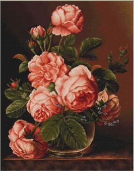 Vaas roze rozen