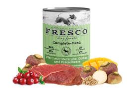 FRESCO Complete-Menü Pferd mit Steckrübe, Quinoa und Preiselbeeren (400 g Dose)
