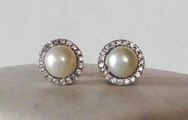 Zuchtperlen Ohrringe, Ohrstecker - Freshwater pearl halo stud earrings