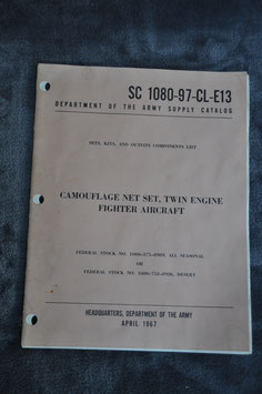 Supply Catalog SC 1080-97-CL-E13. Camouflage net set, twin engine fighter aircraft. '67.