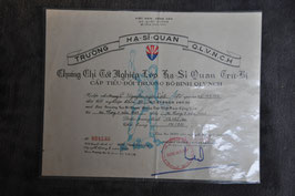 ARVN Officers, NCO and special reserves school certificate. Dated '68.