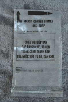 Plastic bags for ammo as used by South Vietnamese forces. 4-'70. New old stock.