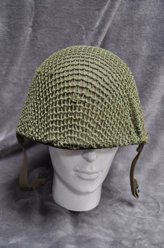 French M51 helmet with liner and camouflagenetting. Dated '53.