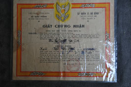 ARVN 25th Infantry Division certificate. Dated '70.