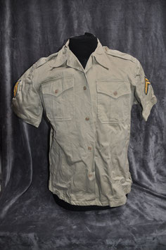 Khaki cotton short-sleeved shirt 1st pattern. Dated '66.