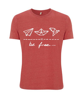 "be free – Unisex Shirt ""melange red"""