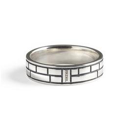 Massief Zilveren Ring, Dubbel Amsterdams Baksteen Motief