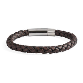 Bruine leren armband met RVS klik slot