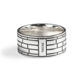 Massief Zilveren Ring, Amsterdams Baksteen Motief
