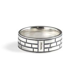 Massief Zilveren Ring, Driedubbel Amsterdams Baksteen Motief