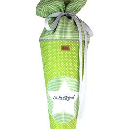 Schultüte personalisierbar - grün weiße Pünktchen