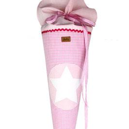 Schultüte personalisierbar - rosa weißes Vichykaro