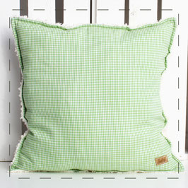 Teddy-Kissen quadratisch - grün Vichy
