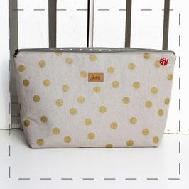 Kulturtasche/ Windeltasche Lilli - grau goldene Punkte