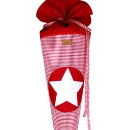 Schultüte personalisierbar - rot weiß Vichykaro