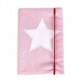 U-Heft-Hülle rosa gestreift - personalisierbar