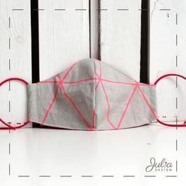 kleine Stoffmaske - grau pinkfarbener Neonprint