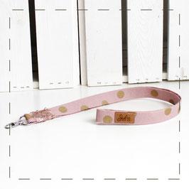 Schlüsselband - rosa goldene Punkte