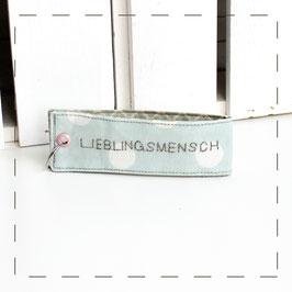 """Schlüsselanhänger - türkis/mint """"Lieblingsmensch"""""""