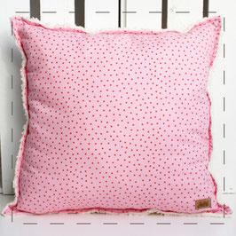 Teddy-Kissen quadratisch - rosa mit Pünktchen