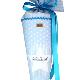 Schultüte personalisierbar - hellblau weiße Sterne